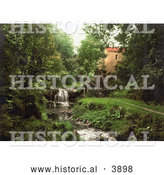 Historical Photochrom of a Waterfall by the Wheel of Rigg Mill in Whitby North Yorkshire England UK by Al