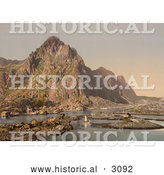 Historical Photochrom of a Waterfront Village, Svolvaer, Lofoten, Norway by Al