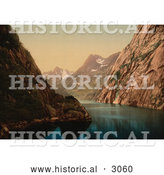 Historical Photochrom of a Waterscape, Troldfjord, Raftsund, Lofoten, Norway by Al