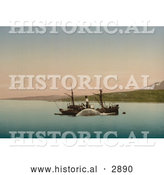 Historical Photochrom of a Whaling Ship in Norway by Al