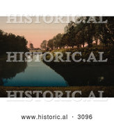 Historical Photochrom of a Windmill and Still Water, Kungsparken, Malmo, Sweden by Al