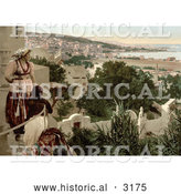 Historical Photochrom of a Woman and Child Viewing the City of Algiers from a Terrace, Algeria by Al