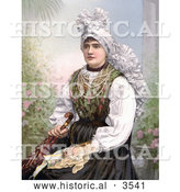 Historical Photochrom of a Woman Seated in Traditional Clothing, Holding an Umbrella, Carniola, Slovenia by Al