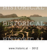 Historical Photochrom of Aalesund, Norway by Al