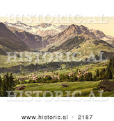 Historical Photochrom of Adelboden Switzerland by Al