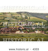 Historical Photochrom of Agricultural Village of Taddiport and the Rolle Canal in Torrington, Devon, England, United Kingdom by Al