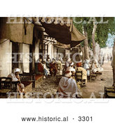 Historical Photochrom of an Outdoor Moorish Cafe in Tunis, Tunisia by Al