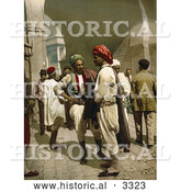 Historical Photochrom of Arabian Men Chatting in the Street in Tunis, Tunisia by Al