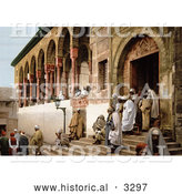 Historical Photochrom of Arabs Leaving a Mosque in Tunis, Tunisia by Al