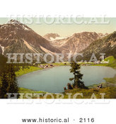 Historical Photochrom of Arosa Switzerland by Al