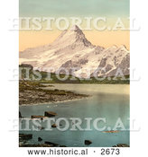 Historical Photochrom of Bach Alps Lake and Schreckhorn by Al