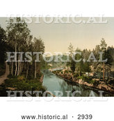 Historical Photochrom of Bandak's Canal, Norway by Al