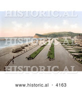 Historical Photochrom of Bathing Saloon Carts on the Beach near the Pier in Teignmouth Teignbridge Devon England UK by Al