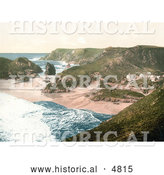 Historical Photochrom of Beachfront Buildings at Kynance Cove in Cornwall, England, United Kingdom by Al