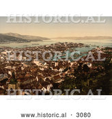 Historical Photochrom of Bergen Norway by Al
