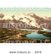 Historical Photochrom of Bernina Hospice and Cambrena Glacier, Switzerland by Al