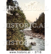 Historical Photochrom of Birch Trees on the Rocky Banks of the River Derwent in Borrowdale Lake District Cumbria England UK by Al