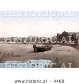 Historical Photochrom of Boat on the Beach in Morecambe Lancashire England UK by Al