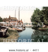 Historical Photochrom of Boats at the Staithe Wharf on the River Thurne in Potter Heigham, Norfolk, England by Al