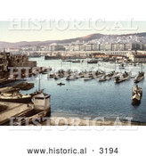 Historical Photochrom of Boats in the Harbor, Algiers, Algeria by Al