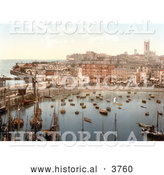 Historical Photochrom of Boats in the Harbor in Margate Thanet Kent England UK by Al