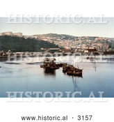 Historical Photochrom of Boats in the Harbor, Philippeville, Algeria by Al