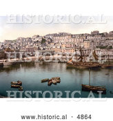 Historical Photochrom of Boats in the Harbour of Brixham, Devon, England, United Kingdom by Al