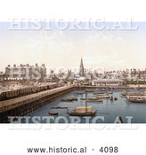 Historical Photochrom of Boats in the Inner Harbour at Lowestoft Waveney Suffolk East Anglia England UK by Al
