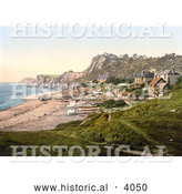 Historical Photochrom of Boats near Beachfront Houses on the Steephill Cove in Ventnor Isle of Wight England UK by Al
