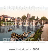 Historical Photochrom of Boats near the Medieval Bridge on the River Wye, Waterfront Buildings and the Hereford Cathedral in Hereford West Midlands England UK by Al