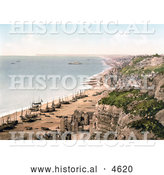 Historical Photochrom of Boats on the Beach and the Coastline of Hastings Sussex England by Al