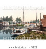 Historical Photochrom of Boats on the Water near the Bridge in Wroxham Norfolk England UK by Al