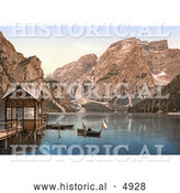 Historical Photochrom of Boats on Wildsee Lake, Pragser, with a View Toward Sulden, Tyrol, Austria by Al