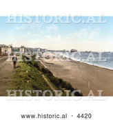 Historical Photochrom of Boy near the Beach and Royal Hotel in Lowestoft Suffolk East Anglia England UK by Al