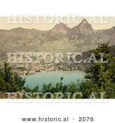 Historical Photochrom of Brunnen on Lake Lucerne by Al