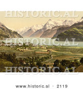 Historical Photochrom of Brunnen on Lake Lucerne, Switzerland by Al