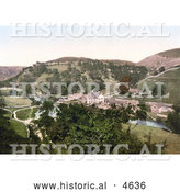 Historical Photochrom of Buildings Along the River Wye in Mansal Dale Derbyshire England by Al