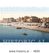 Historical Photochrom of Buildings and Boats at the Waterfront of Deal Kent England by Al