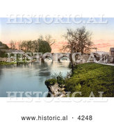 Historical Photochrom of Buildings of the Village of Eamont Bridge on the River in Penrith Cumbria England UK by Al