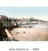 Historical Photochrom of Buildings on the Cliffs Above the Beach in Newquay, Cornwall, England, United Kingdom by Al