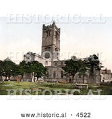 Historical Photochrom of Burial Grouds at the Parish Church of St Laurence in Ludlow Shropshire England United Kingdom by Al