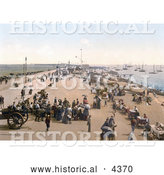 Historical Photochrom of Busy Promenade and Beach at Southsea, Portsmouth, Hampshire, England, UK by Al