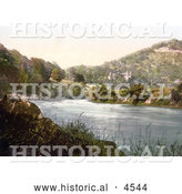Historical Photochrom of Castle on the Hillside by the River in Wyaston Lees Monmouth Wales Monmouthshire Gwent England United Kingdom by Al