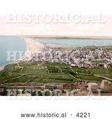 Historical Photochrom of Chesil Beach Bank on the Isle of Portland Dorset England UK by Al
