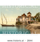 Historical Photochrom of Chillon Castle on Geneva Lake, Switzerland by Al
