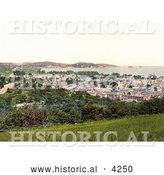 Historical Photochrom of Cityscape of Paignton on the Torbay in Devon England UK by Al