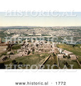 Historical Photochrom of Cityscape View of Jerusalem, Israel by Al