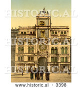 Historical Photochrom of Clock Tower, St Marks, Venice by Al