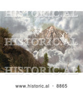 Historical Photochrom of Clouds Surrounding the Mount of the Holy Cross in the Sawatch Range of the Rocky Mountains by Al