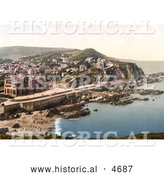 Historical Photochrom of Coastal Hotels and Town of Ilfracombe in Devon England by Al